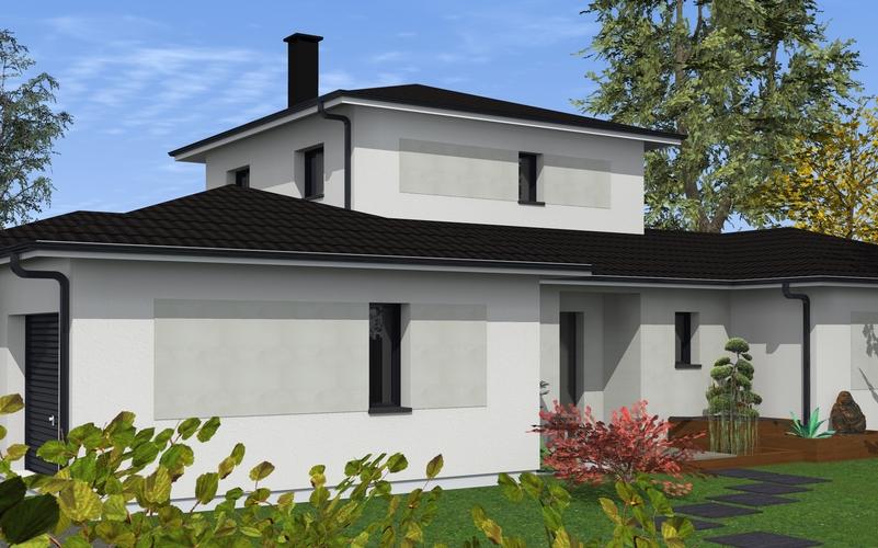 maison contemporaine aux volumes g n reux et tage partiel maisons bati sud. Black Bedroom Furniture Sets. Home Design Ideas