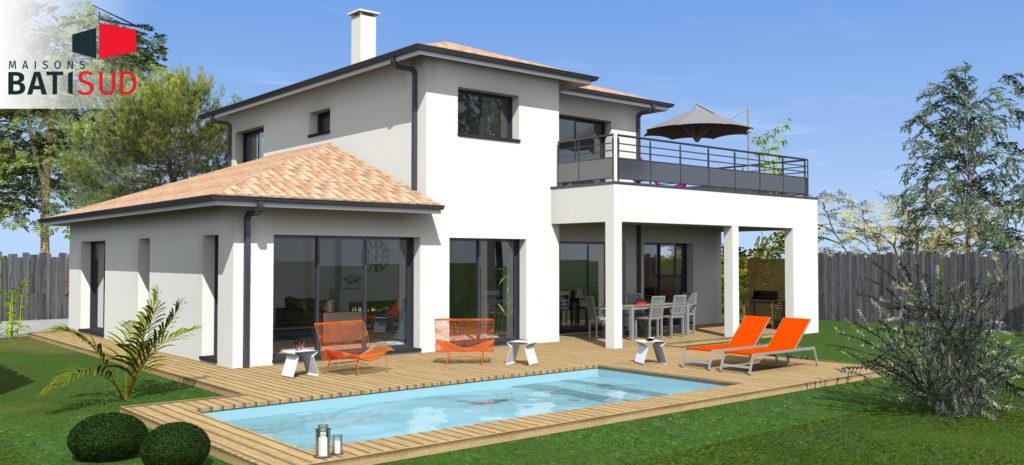 belle maison moderne avec solarium et terrasse couverte maisons bati sud. Black Bedroom Furniture Sets. Home Design Ideas