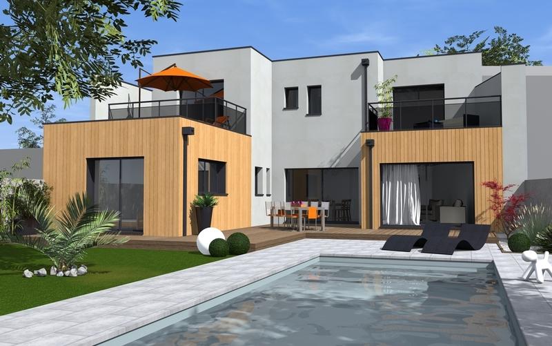 maison de ville toit terrasse et bardage bois maisons bati sud. Black Bedroom Furniture Sets. Home Design Ideas