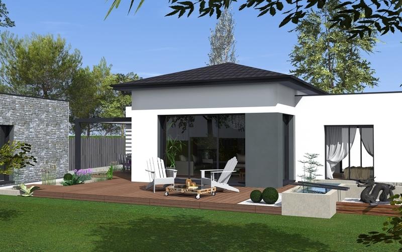 maison toit plat partiel maisons bati sud. Black Bedroom Furniture Sets. Home Design Ideas