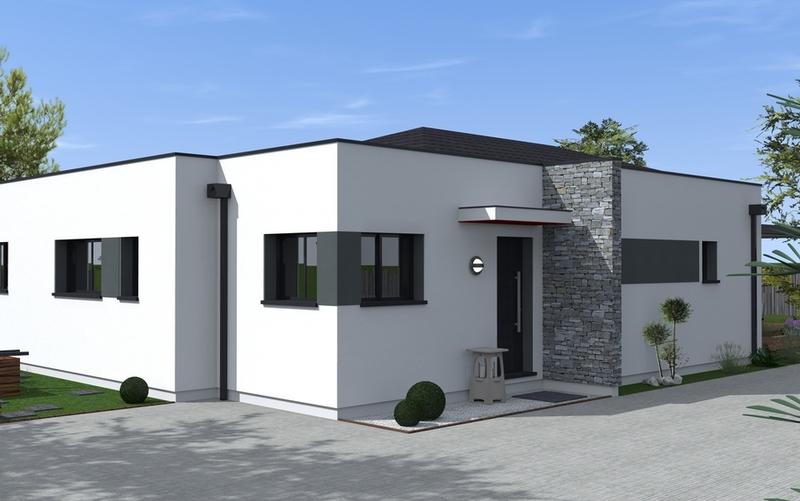 Maison toit plat partiel maisons bati sud for Maison en l toit plat