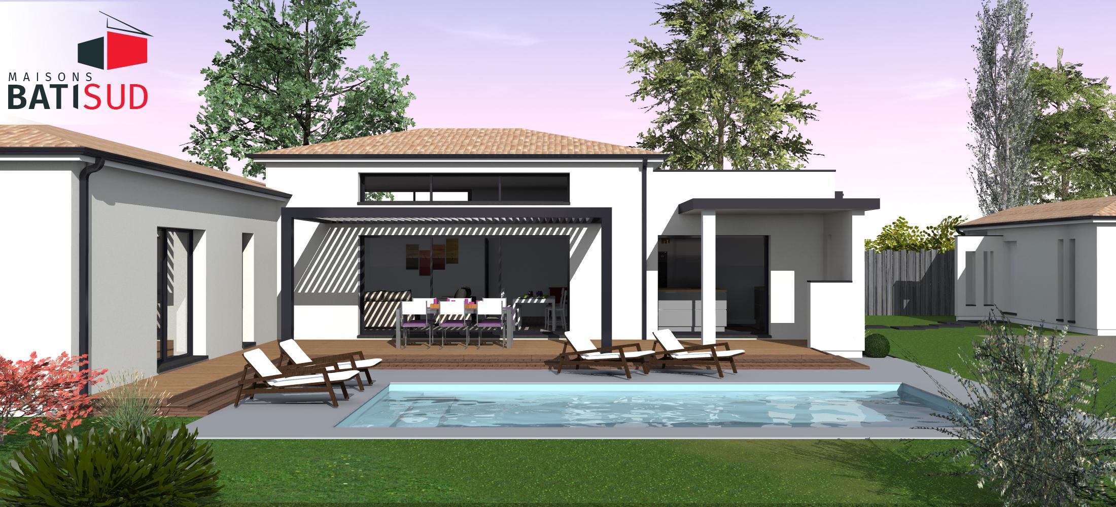 Maisons Bati Sud : Très belle maison moderne avec solarium et terrasse couverte. 6