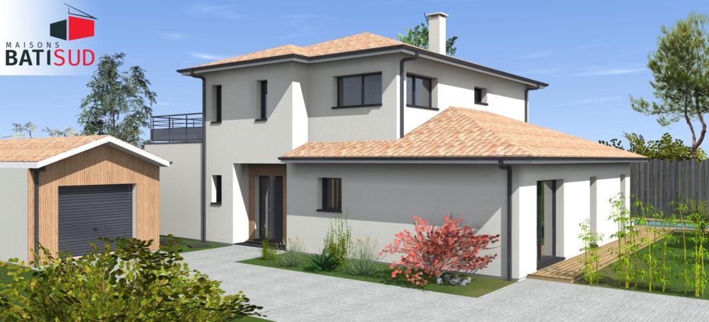 bati sud maginifique maison moderne solarium terrasse. Black Bedroom Furniture Sets. Home Design Ideas