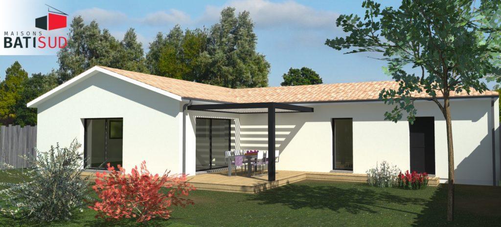 Maisons Bati Sud : Maison de plain-pied de 120m² à Saint-Médard-en-Jalles - Jardin