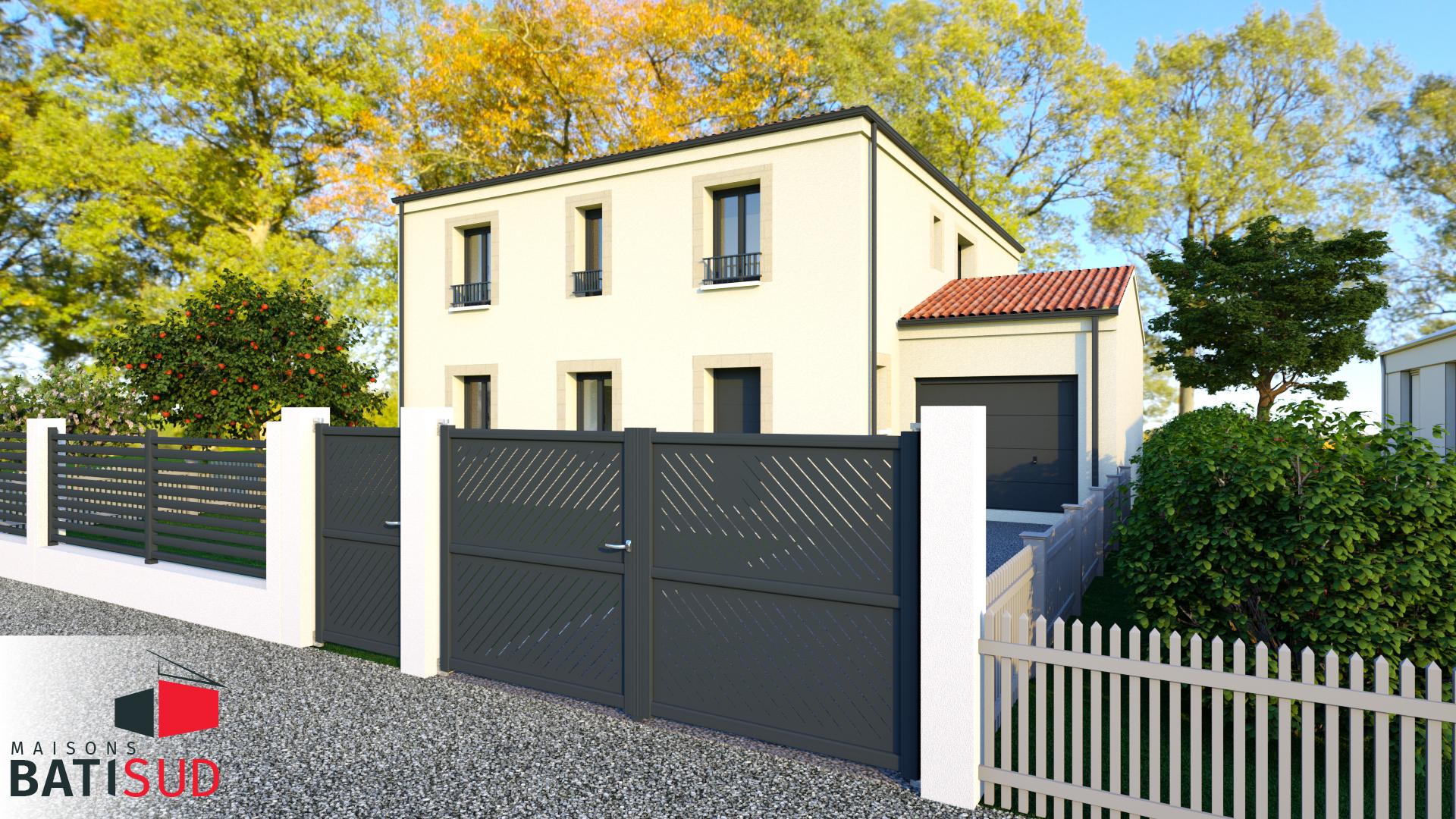 Maisons Bati Sud : Très belle maison de 185m² avec 6 chambres au Bouscat - Vue façade extérieure avec garage