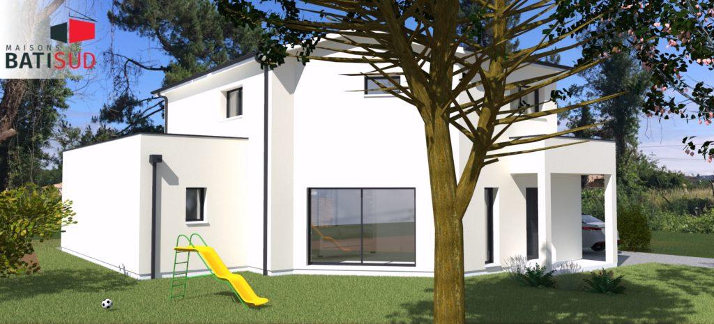 Maisons Bati Sud : Grande maison familiale et fonctionnelle à Léognan - Arrière