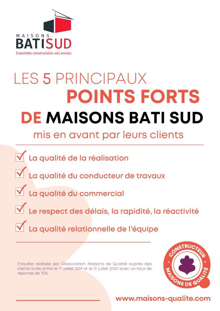 MAISONS BATI SUD : Certification Maisons de Qualité2021 - Points forts